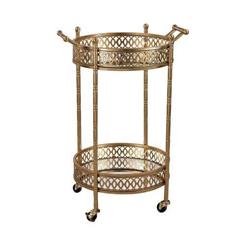 Gold Banded Round Bar Cart
