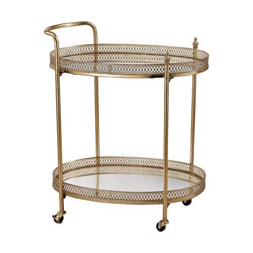 Gold Banded Oval Bar Cart