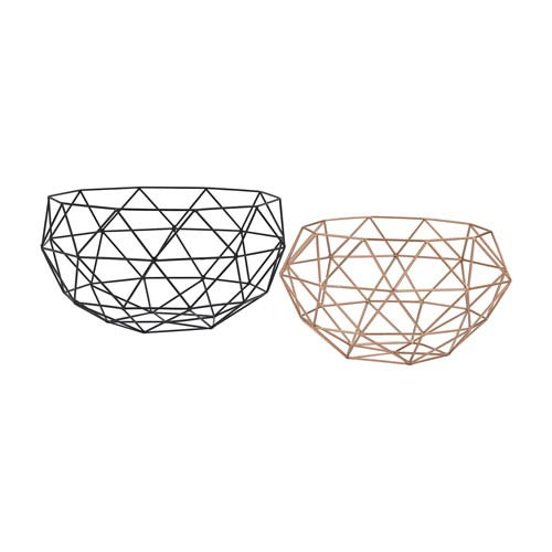 Set of 2 Connect Black Rose Gold Bowls