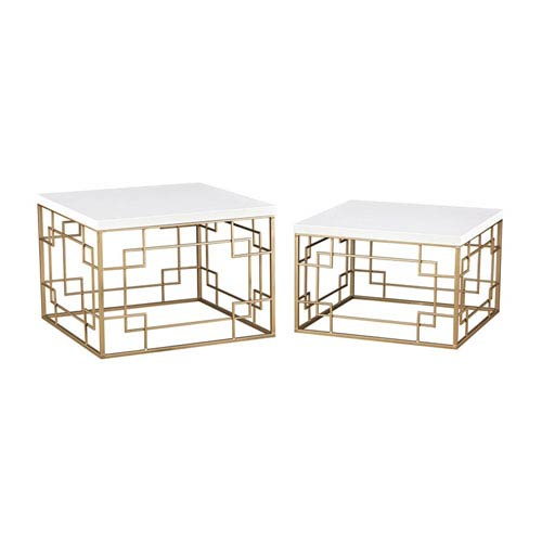 Sterling Industries Sugar City Soft Gold and White Accent Tables - Set of 2