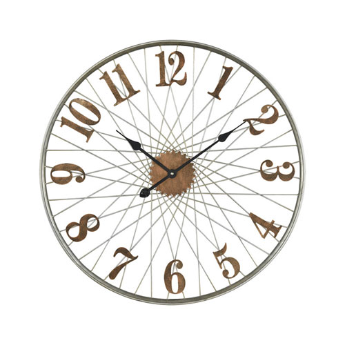 Moriarty Distressed Copper and Silver Wall Clock