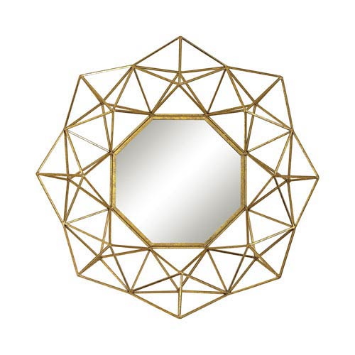 Gold Geometric Wire Mirror
