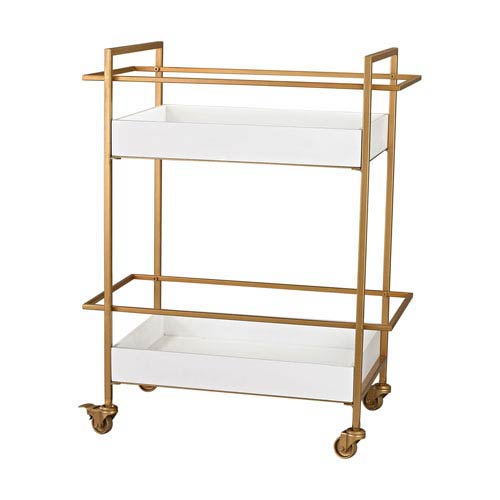 Sterling Industries Gold and Gloss White Bar Cart