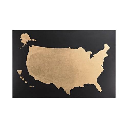 Black and Gold Metallic World Map