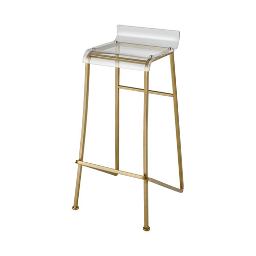 Hyperion Aged Gold and Clear Bar Stool
