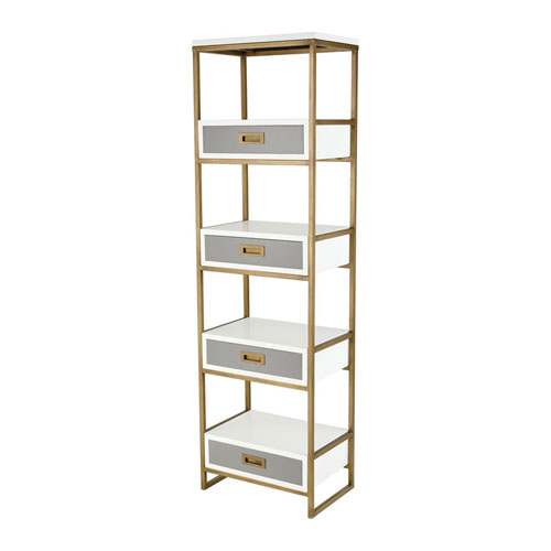 Olympus Aged Brass and Grey Shelving Unit