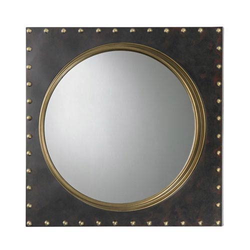 Bronze Rivet Porthole Mirror