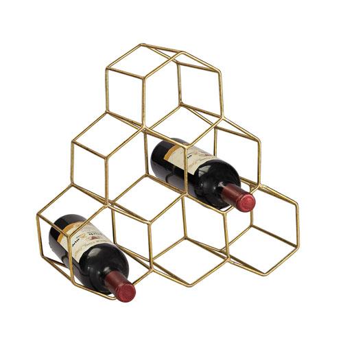 Gold Angular Study Hexagonal Wine Rack