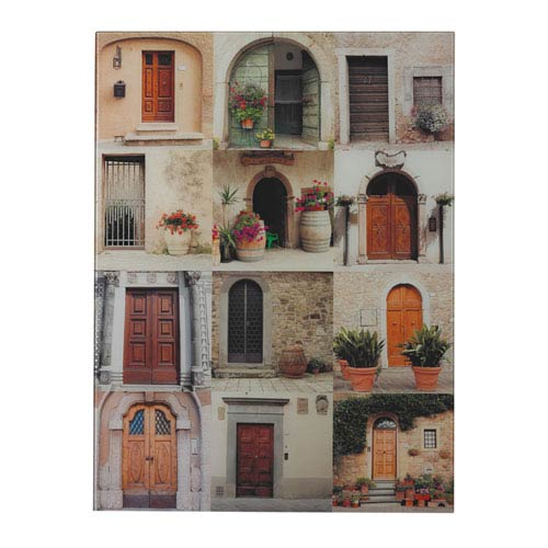 Door Collage Printed Glass 24.5-Inch Wall Art