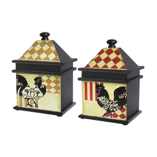 Sterling Industries Harlequin Rooster Boxes, Set of Two