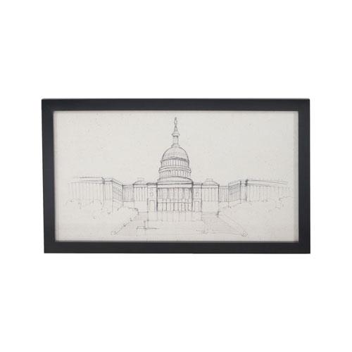 U.S Capitol Handpainted Clear White Signature Black Wall Decor