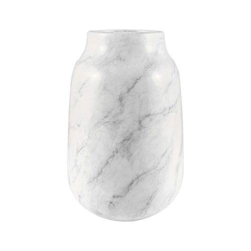 Lucca White Faux Marble Six-Inch Vase