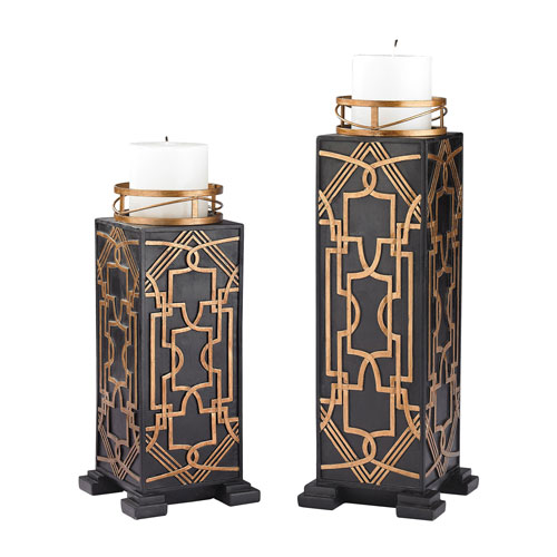 Black and Gold Gatsby Candleholders, Set of Two