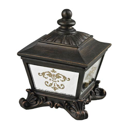 Damask Printed Aria Bronze and Clear Mirror Box