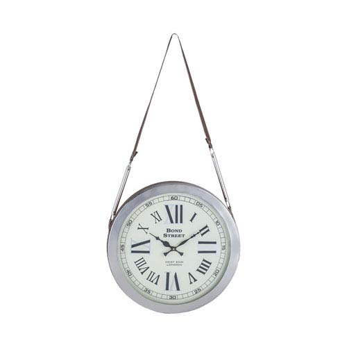 Bond Street Polished Nickel Wall Clock