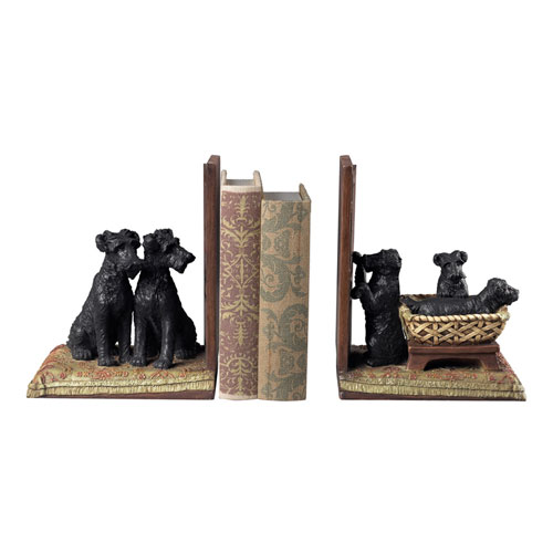 Puppies in Basket Black and Natural 12.5-Inch Bookend, Set of 2