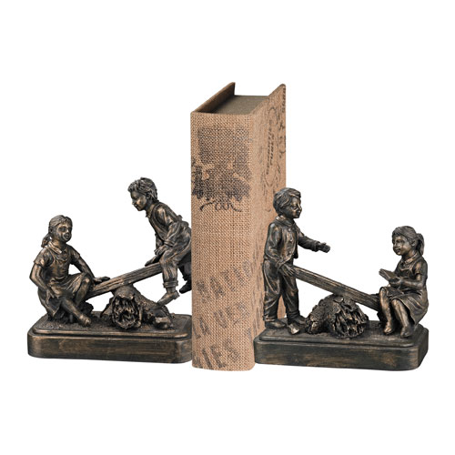 Aged Silver and Bronze 6-Inch Bookend, Set of 2