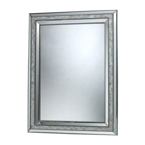 Brushed Steel and Mother Of Pearl Shell 39-Inch Rectangular Mirror