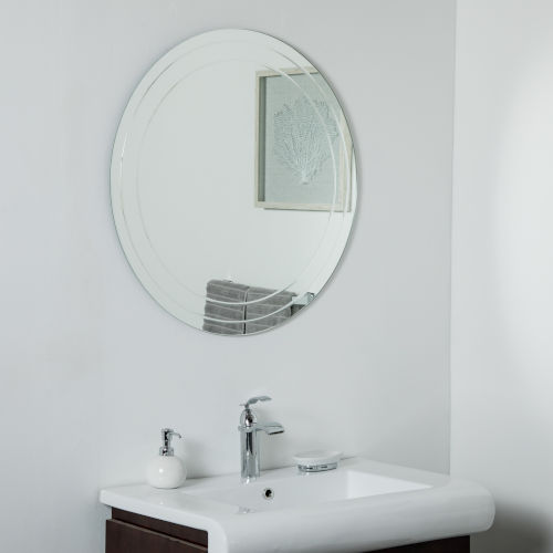 Frameless Round Wall Mirror with V-Groove