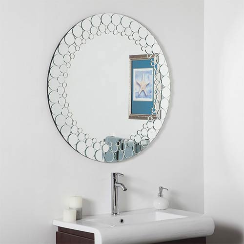 Circles Round Beveled Large Bathroom Mirror