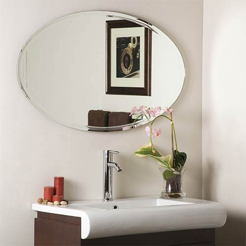 Extra-Long Oval Beveled Frame Mirror