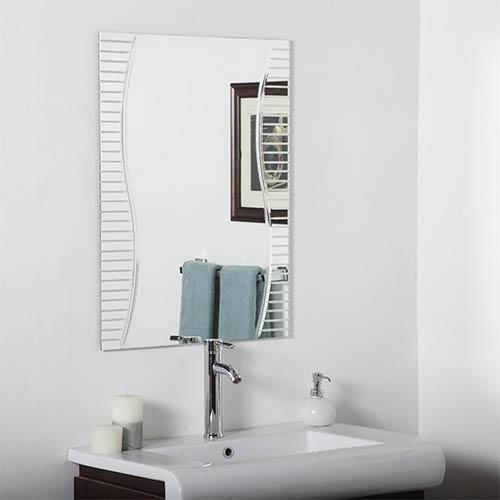 Decor Wonderland Ava Modern Rectangular Frameless Bathroom Mirror