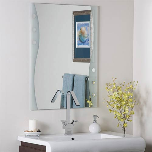 Etched Frameless Mirror