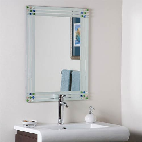 Decor Wonderland Bejeweled Frameless Bathroom Mirror