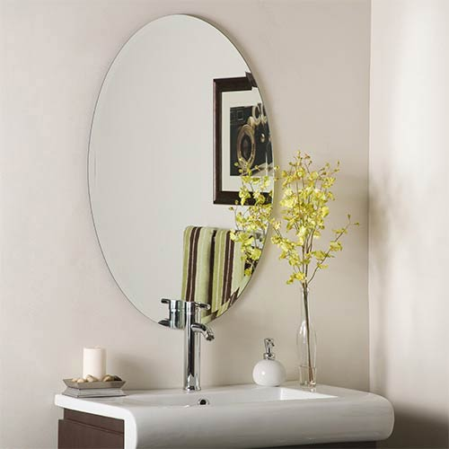 frameless beveled mirror. Decor Wonderland Oval Frameless Beveled Mirror