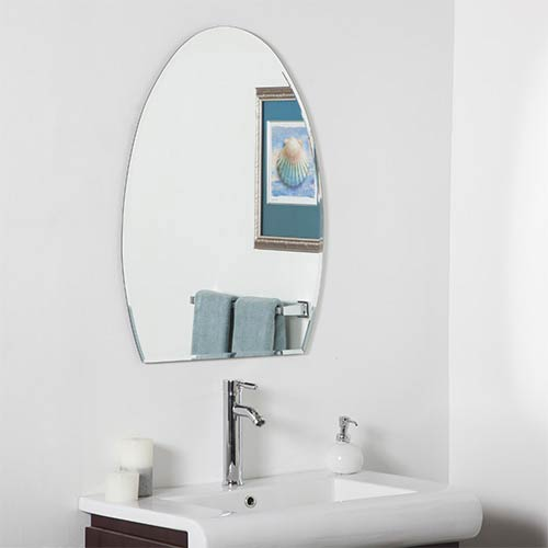 Decor Wonderland Sena Modern Oval Beveled Frameless Bathroom Mirror