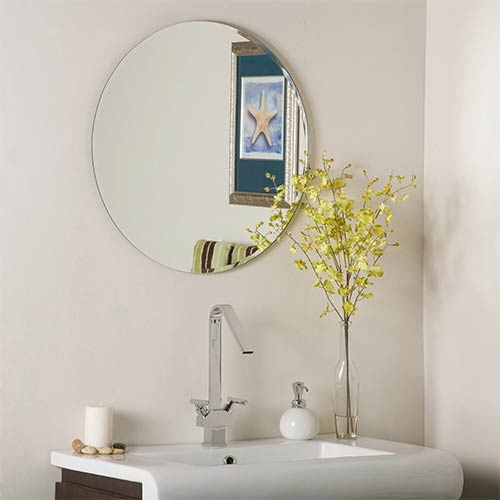 Modern Frameless Round Beveled Mirror