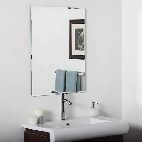 Decor Wonderland Vera Rectangular Beveled Frameless Bathroom Mirror