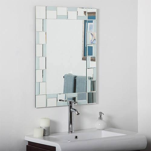 Decor Wonderland Quebec Modern Rectangular Beveled Bathroom Mirror