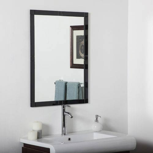 Decor Wonderland Black Rectangular Beveled Frameless Kinana Mirror