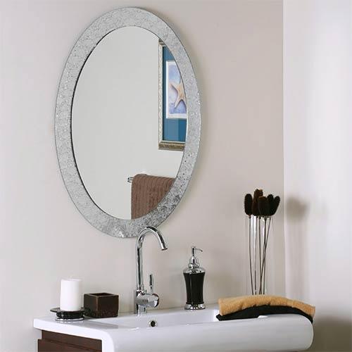 Luxor Cystal Frameless Oval Mirror