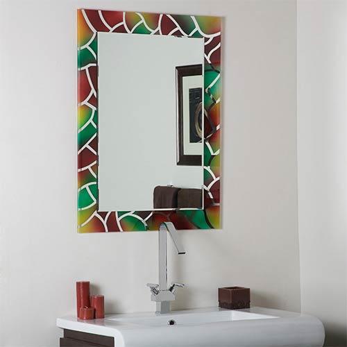 Decor Wonderland Mosaic Frameless Bathroom Mirror With Beveled Edge