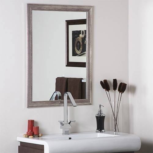 Silvertone Distressed Large Framed Wall Mirror.