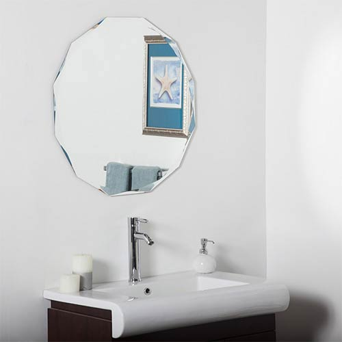 Decor Wonderland Round Diamond Beveled Frameless Wall Mirror