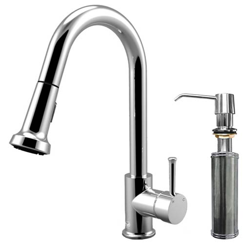 Chrome Pull-Out Spray Kitchen Faucet with Soap Dispenser