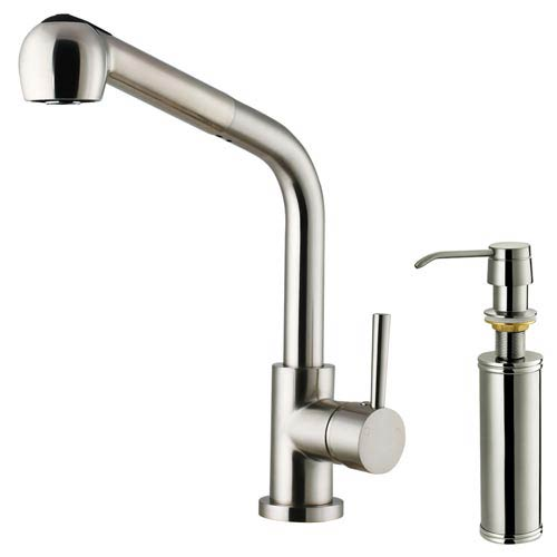 Vigo Stainless Steel Pull Out Spray Kitchen Faucet With Soap Dispenser
