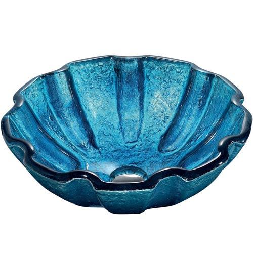 Vigo Mediterranean Seashell Blue Tempered Glass Above Counter Vessel Sink