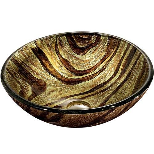 Vigo Zebra Multicolor Round Tempered Glass Above Counter Vessel Sink