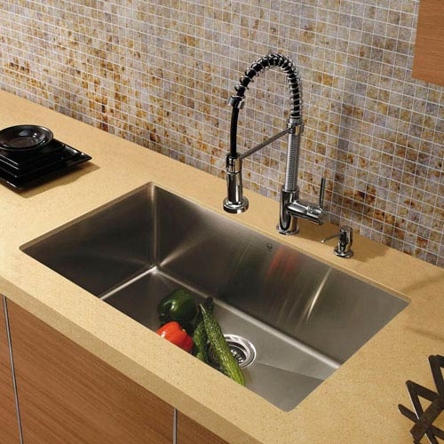 Vigo All In One 32 Inch Mercer Stainless Steel Undermount Kitchen Sink Set With Edison Faucet In Chrome Grid Strainer And Dispenser