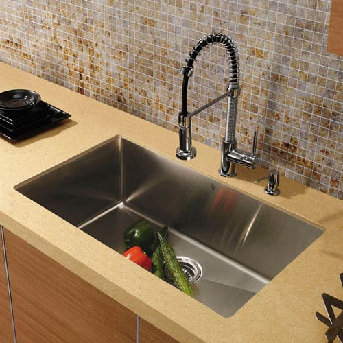 All-In-One 30 Inch Mercer Stainless Steel Undermount Kitchen Sink Set With  Edison Faucet In Chrome, Grid, Strainer And Soap Dispenser