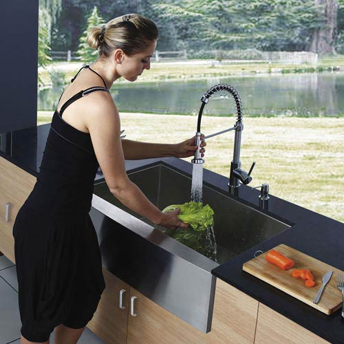 Vigo All In One Camden Farmhouse Kitchen Sink Set: Vigo All In One 36 Inch Camden Stainless Steel Farmhouse