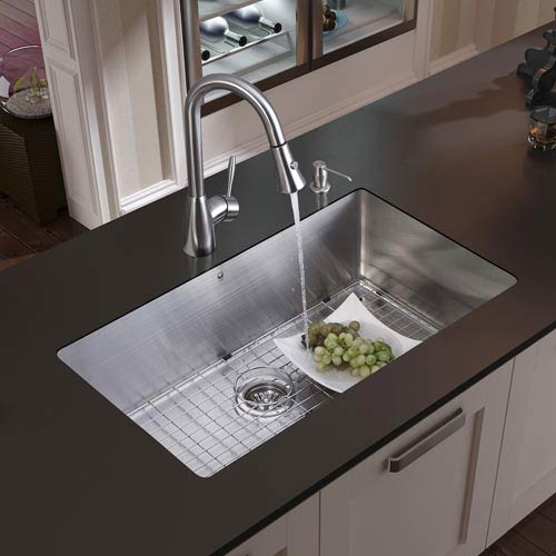 All-In-One 32 Inch Mercer Stainless Steel Undermount Kitchen Sink Set With  Aylesbury Faucet Set In Stainless Steel, Grid, Strainer And Soap Dispenser