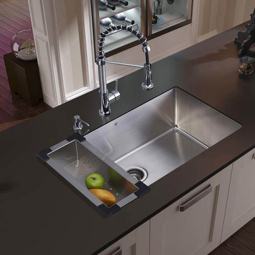 All In One 30 Inch Mercer Stainless Steel Undermount Kitchen Sink Set With Edison Faucet In Chrome Colander Strainer And Soap Dispenser