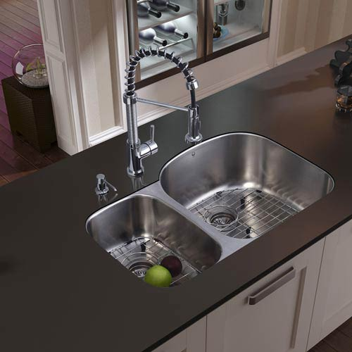 All-In-One 31 Inch Braddock Stainless Steel Double Bowl Undermount Kitchen  Sink Set With Edison Faucet In Chrome, Two Grids, Two Strainers And Soap ...