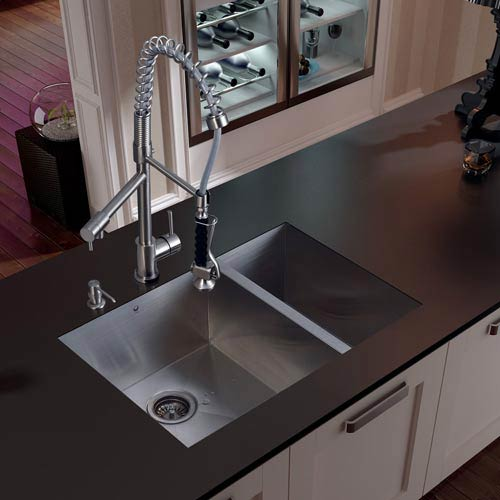 Vigo Undermount Stainless Steel Kitchen Sink, Faucet, Two Strainers and  Dispenser