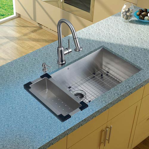 All-In-One 32 Inch Ludlow Stainless Steel Undermount Kitchen Sink Set With  Astor Faucet, Colander, Grid, Strainer And Soap Dispenser